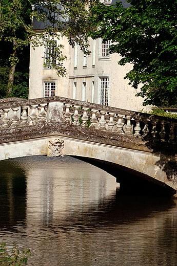 Malicorne castle,  XIIth century. Malicorne-sur-Sarthe. Sarthe. France. : Stock Photo