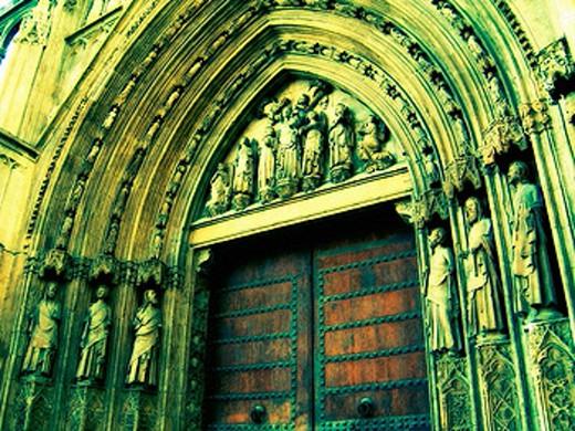 Stock Photo: 1566-381010 Door of the Apostles, cathedral of Valencia. Comunidad Valenciana, Spain