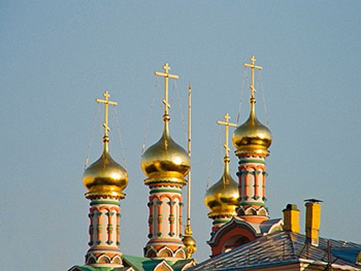 Stock Photo: 1566-381091 Church Towers, Kremlin, Moscow. Russian Federation.