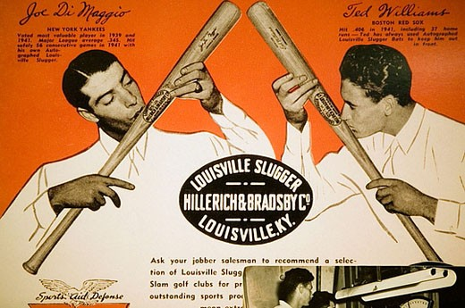 Stock Photo: 1566-382370 Louisville Slugger Baseball Bat Factory & Museum. Old Advertisements with Joe DiMaggio. Louisville. Kentucky. USA.