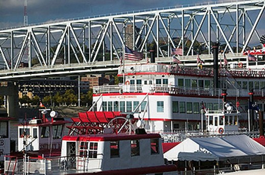 Stock Photo: 1566-383135 Tall Stacks Riverboats. Riverboat Row on the Ohio River. Newport. Kentucky. USA.
