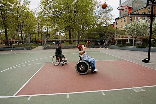 Stock Photo: 1566-383297 Men in wheelchairs playing basketball