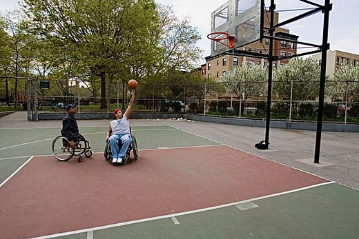 Stock Photo: 1566-383298 Men in wheelchairs playing basketball