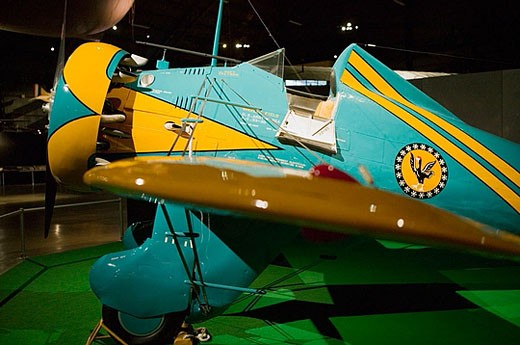 US Air Force Museum and National Aviation Hall of Fame. 1930s P-26 US Fighter plane. Dayton. Ohio. USA. : Stock Photo