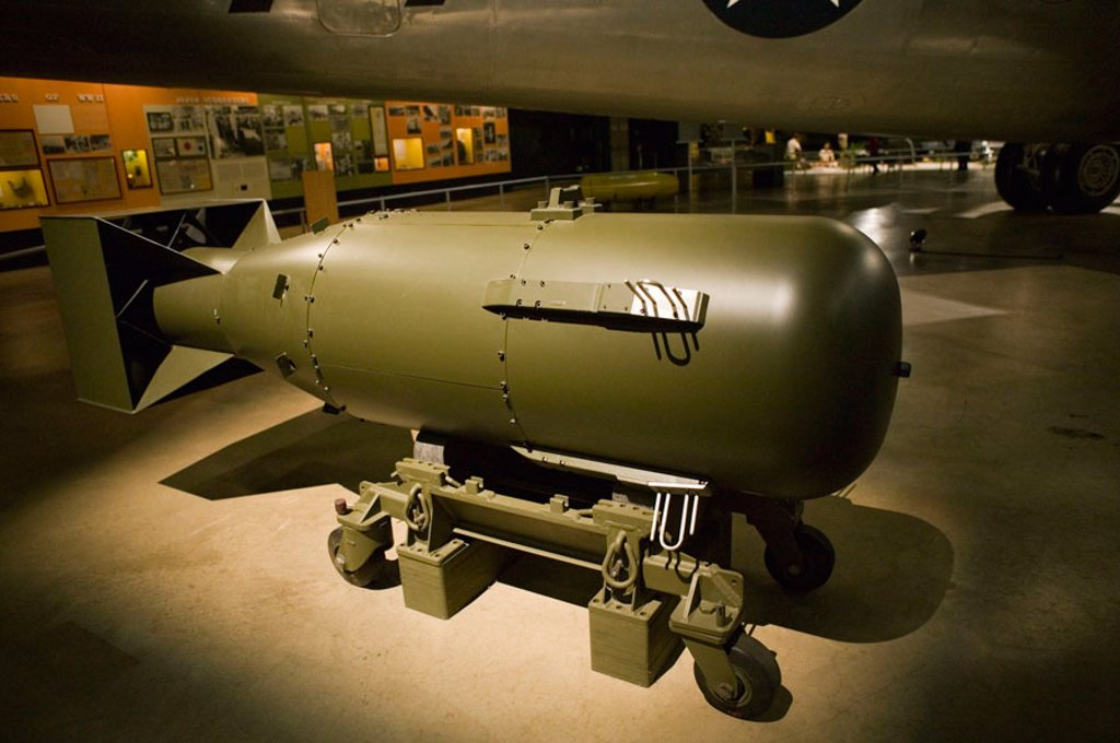 Stock Photo: 1566-383368 US Air Force Museum and National Aviation Hall of Fame. Replica of Little Boy Bomb dropped on Hiroshima, JAPAN 8/6/45. Dayton. Ohio. USA.