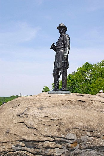 Stock Photo: 1566-383821 Little Round Top and The Valley of Death at the Gettysburg National Battlefield Park and Cemetary Pennsylvania PA