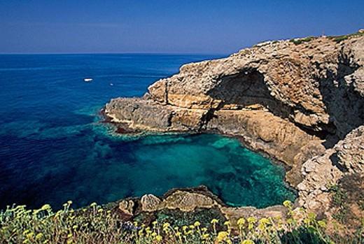 Stock Photo: 1566-384230 Punta Ristola. Porcinara Cave. Puglia, Italy