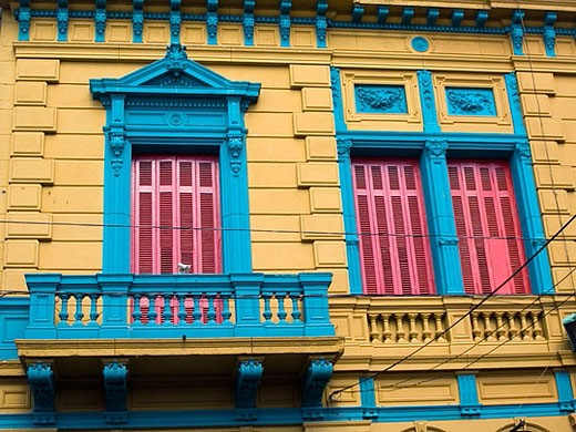 Balconies. La Boca district. Buenos Aires. Argentina : Stock Photo