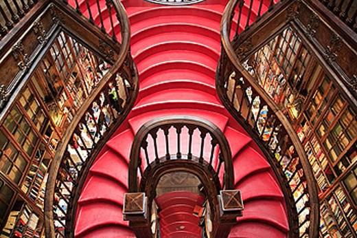 Stock Photo: 1566-384807 Portugal, Douro, Porto, Livraria Lello bookstore, interior