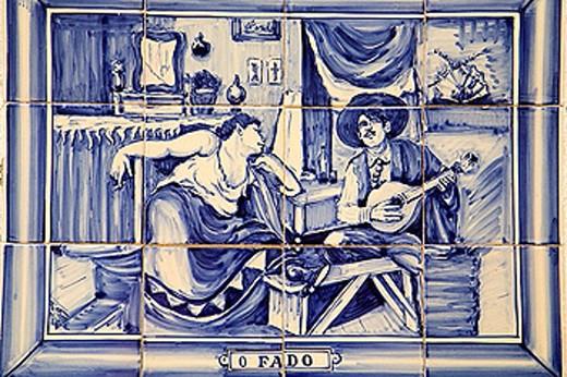 Portugal, Sintra, azulejo ceramic tile image, fado music : Stock Photo