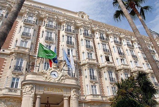 Stock Photo: 1566-385437 Front of Hotel Carlton, Cannes, France. Landmark hotel on the French Riviera, Cote  d´Azur, often featured at the Cannes Film Festival.