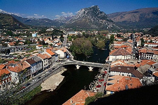 Tarascon-sur-Ariege. Midi-Pyrenees, France : Stock Photo