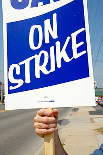 Stock Photo: 1566-386557 United Auto Workers UAW protesters on strike at a small automotive parts plant in Detroit Michigan MI