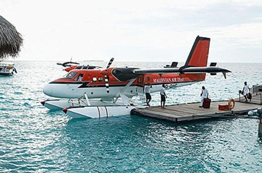 Air taxi at a pier. Maldives Island, Indian Ocean. : Stock Photo