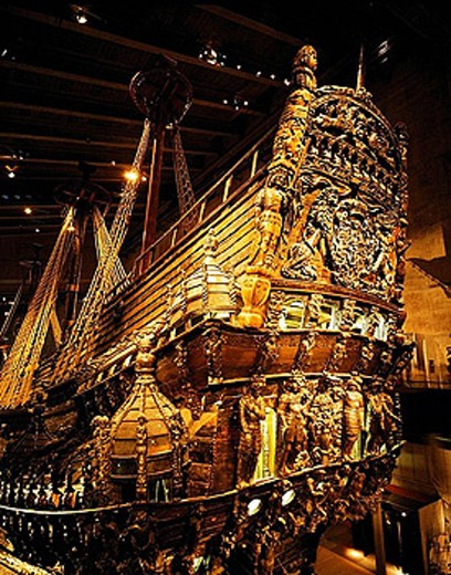 Stock Photo: 1566-387513 Warship Vasa built in 1628 in Vasa Museum, Stockholm. Sweden