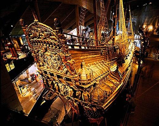 Stock Photo: 1566-387514 Warship Vasa built in 1628 in Vasa Museum, Stockholm. Sweden