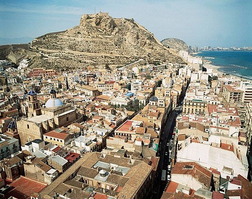Alicante with castle of Santa Barbara in background. Comunidad Valenciana, Spain : Stock Photo