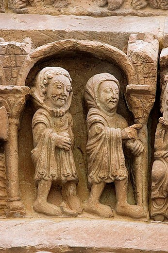 Church of Santo Domingo. Scenes of the tympanum of the front. S.XII. City of Soria. Castilla Leon. Spain. : Stock Photo