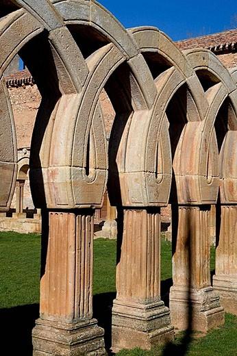 Cloister of San Juan de Duero near Soria. Castilla-León, Spain : Stock Photo