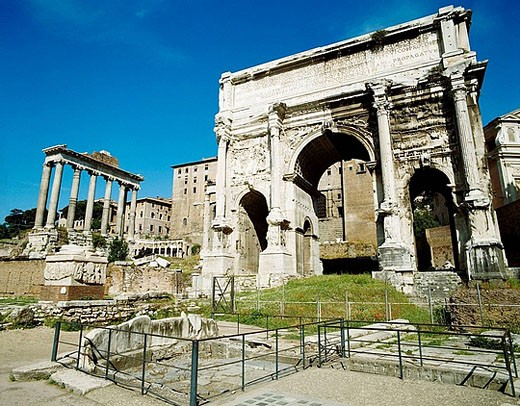 Arch of Septimius Severus in the Roman forum, Rome. Italy : Stock Photo