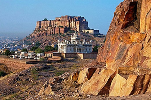 Jaswant Thada Memorial and Meherangarh fort in Jodhpur. Rajasthan. India : Stock Photo