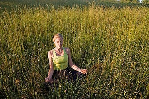 Stock Photo: 1566-390871 yoga outdoors