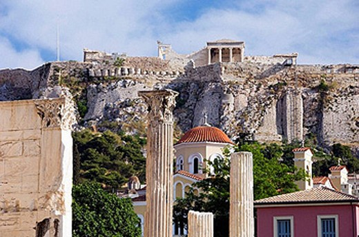 Views of the Acropolis and the Erechtheion from the Roman Forum in Athens, Greece. : Stock Photo