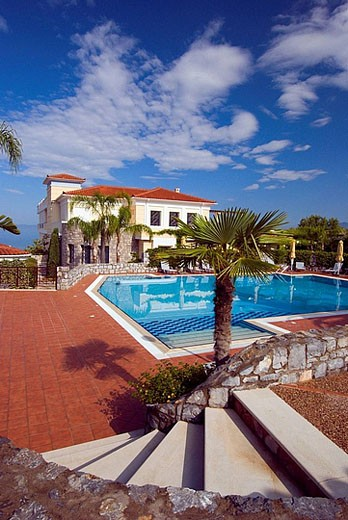 Stock Photo: 1566-391648 The pool area of the Akti Taygetos hotel and Resort in Kalamata, Greece.