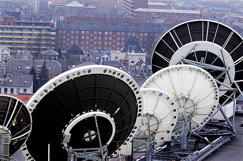 Tele Communication, Satellite earth station : Stock Photo