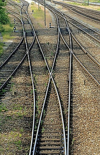 Rails, points, metal, steel, German track : Stock Photo