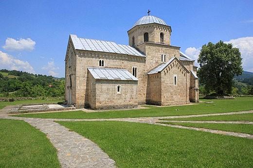 Annunciation church of Gradac Monastery (c. 1275), Raska district, Serbia : Stock Photo