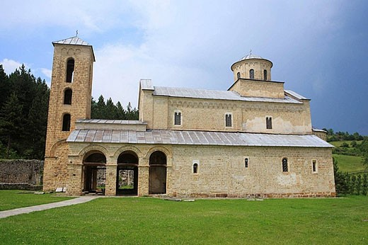 Stock Photo: 1566-393355 Holy Trinity church of Sopocani Monastery (c. 1260) near Novi Pazar, Raska district, Serbia