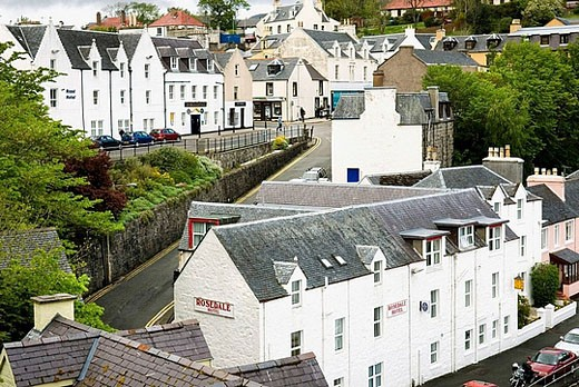 Colorful village of Portee on the Isle of Skye Scotland : Stock Photo