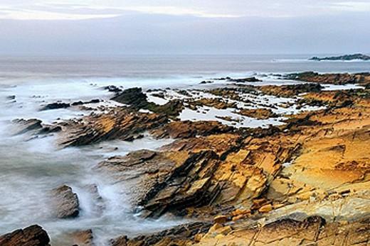 Sunset on Brough Head North Coast of Orkney Islands Mainland Scotland : Stock Photo