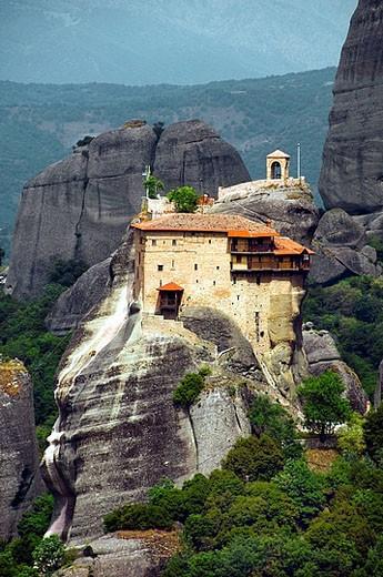 Stock Photo: 1566-394235 The monastery Moni Agias Triados, Holy Trinity Monastery in the Meteora region of Greece.