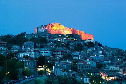 Stock Photo: 1566-394870 15th century Byzantine-Genoese Castle. Evening. Mithymna (Molyvos). Lesvos (Mytilina). Northeastern Aegean Islands. Greece.