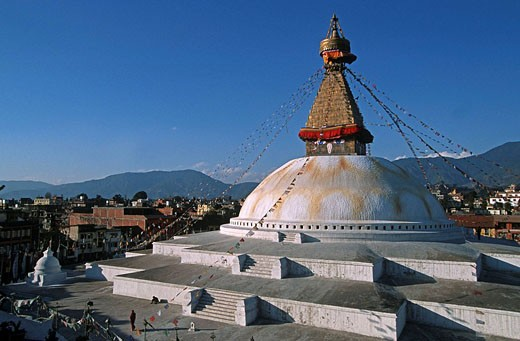 Stock Photo: 1566-395782 Nepal. Bodnath. The biggest stupa in the world