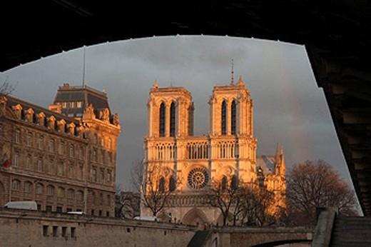 Quai Saint-Michel. Cathedral Notre Dame. Paris. France : Stock Photo