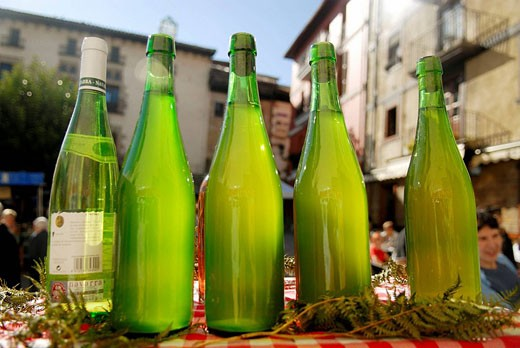 Cider bottles in Ordizia extraordinary market. Guipúzcoa. Euskadi. Spain. : Stock Photo