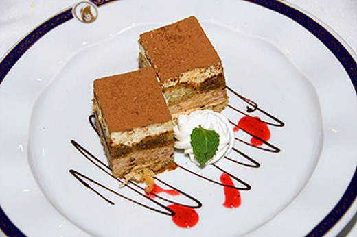 Tiramisu dessert on the Holland America cruise ship Ryndam. : Stock Photo
