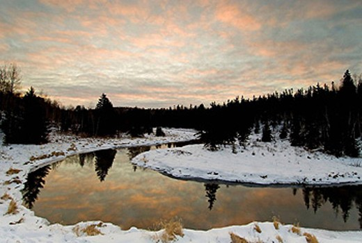 Morning sky reflected in open water of Junction Creek. Ontario, Canada : Stock Photo