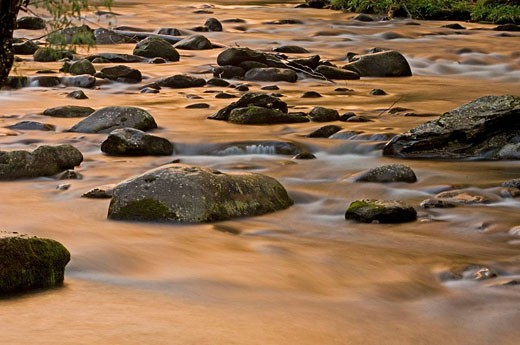 Stock Photo: 1566-396556 Boulders and rapids with evening sky reflections in the Little River. Appalachian, USA