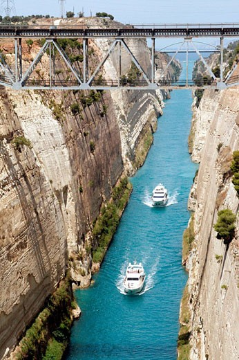 Two boats. Corinth Canal. Greece : Stock Photo