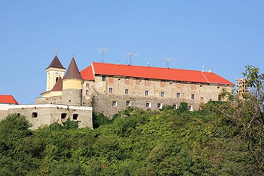 Stock Photo: 1566-398639 Palanok Castle (14th century), Mukachevo, Zakarpattia Oblast (Transcarpathian Oblast, Transcarpathia, Zakarpattya, Subcarpathian Rus), Ukraine