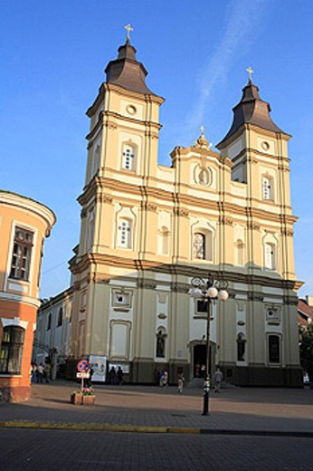 Creek catolic cathedral of St. Trinity (1935), Ivano-Frankivsk (former Stanyslaviv), Ivano-Frankivsk Oblast (province), Ukraine : Stock Photo