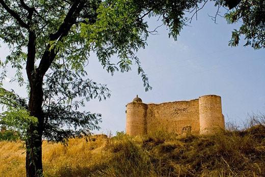 Castle. Palazuelos. Ruta del Rural Romanico. Guadalajara province, Castilla-La Mancha, Spain : Stock Photo