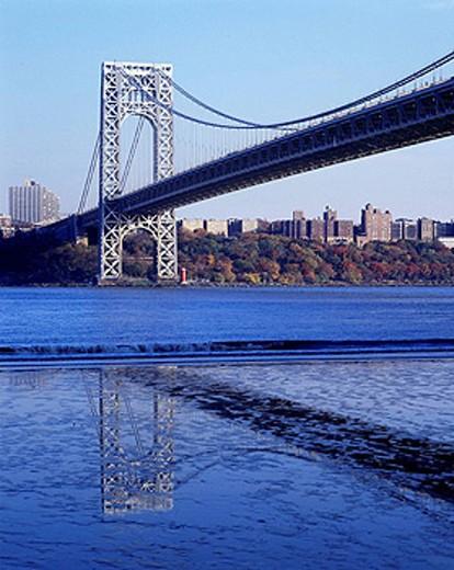 George Washington Bridge, Hudson River, Manhattan, NYC, USA : Stock Photo