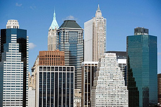 Downtown skyline, Manhattan, NYC, USA : Stock Photo