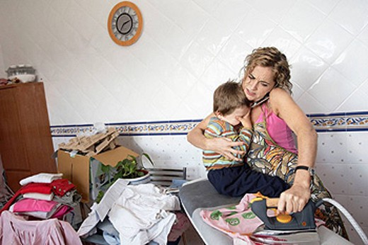 A woman fighting at home : Stock Photo