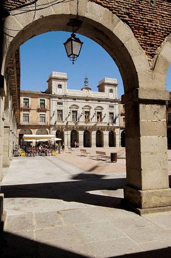 Mercado Chico square and City Hall in background, Avila. Castilla-Leon, Spain : Stock Photo
